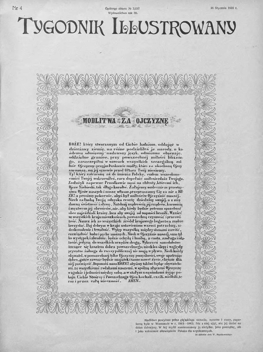 Tygodnik Ilustrowany 1918, nr 4.Biblioteka Cyfrowa Uniwersytetu Łódzkiego.