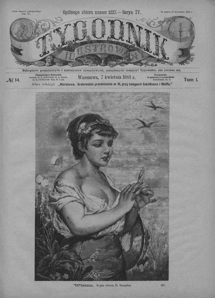 Tygodnik Ilustrowany 1883, nr 14.Biblioteka Cyfrowa Uniwersytetu Łódzkiego.
