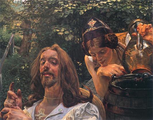 """Jacek Malczewski, """"Chrystus i Samarytanka"""" 1911. Olej na tekturze. 73 x 93 cm.   Własność prywatna. Reprodukcja ze strony http://www.pinakoteka.zascianek.pl/"""