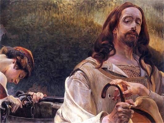 """Jacek Malczewski, """"Chrystus i Samarytanka"""" 1910. Olej na tekturze. 73 x 93 cm.   Własność prywatna. Reprodukcja ze strony http://www.pinakoteka.zascianek.pl/"""