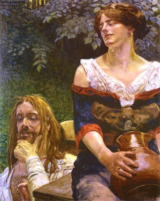 """Jacek Malczewski, """"Chrystus i Samarytanka"""", 1912. Olej na tekturze. 92 x 72,5 cm. Lwowska Galeria Sztuki. Reprodukcja ze strony http://www.pinakoteka.zascianek.pl/"""
