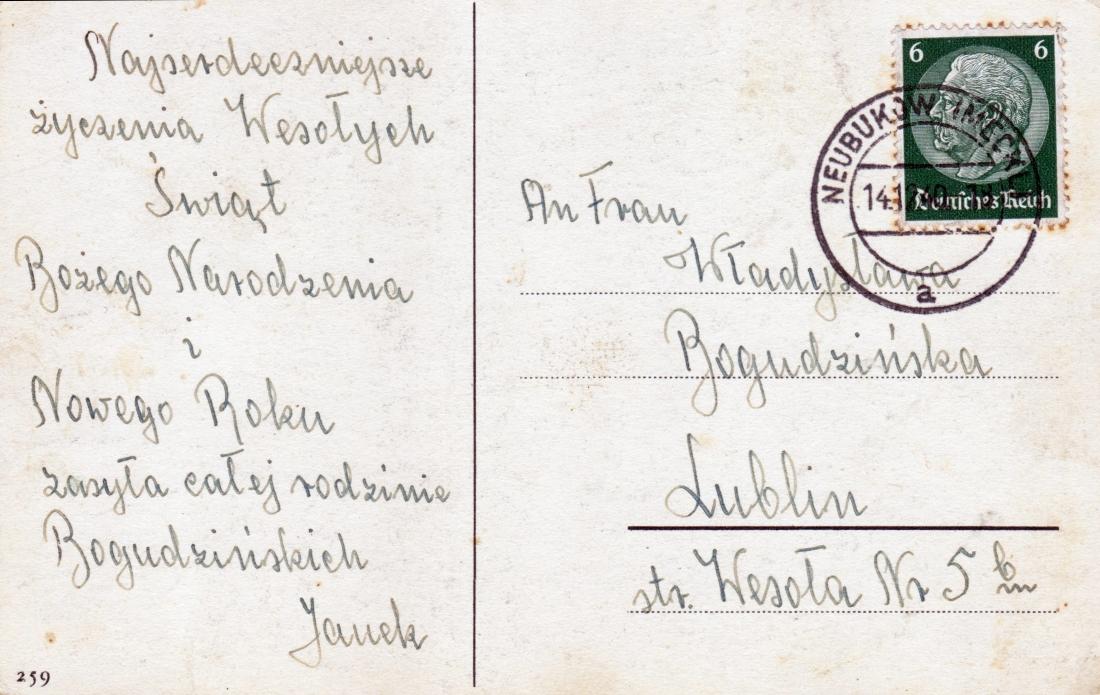 Życzenia wysłane przez Dziafka, w roku 1940, z niewoli niemieckiej