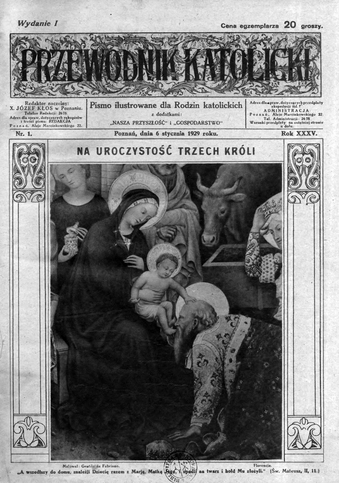 Przewodnik Katolicki 1929, nr 1. Wielkopolska Biblioteka Cyfrowa.