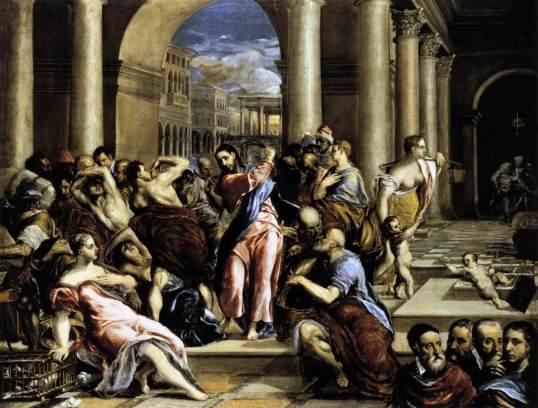 Wypędzenie przekupniów ze świątyni (obraz El Greca z 1575). Reprodukcja pochodzi z Wikioedii