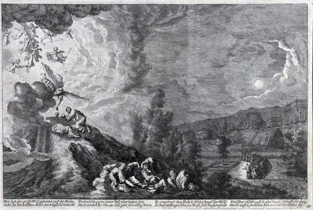 Johan Wilhelm Baur, Modlitwa Chrystusa w Ogrójcu, 1670. Biblioteka Cyfrowa KUL